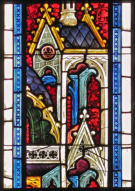 Stained glass architectural canopy  austrian  1390