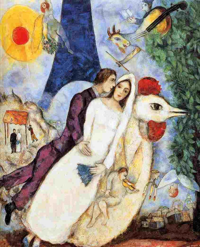 Marc chagall the couple of the eiffel tower  bride and groom of the eiffel tower   1938 1939