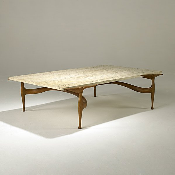 Dan johnson  travertine and walnut  gazelle  cocktail table  c1955.