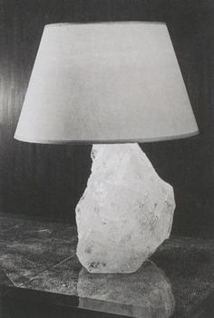 Table lamp mounted on a quartz base  parchment shade  ca 1925 jmf