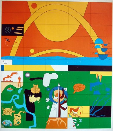 Le corbusier  tapestry design  entry gate to the palace of assembly  chandigarh  1950s