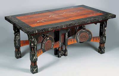 A large extension table  carlo bugatti  italy c. 1900