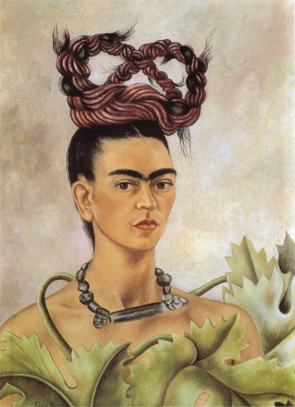 Artwork self portrait with braid by frida kahlo