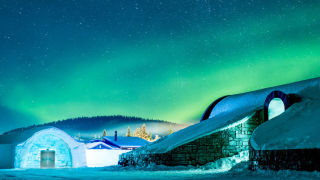 Icehotel, the entrance and northen lights