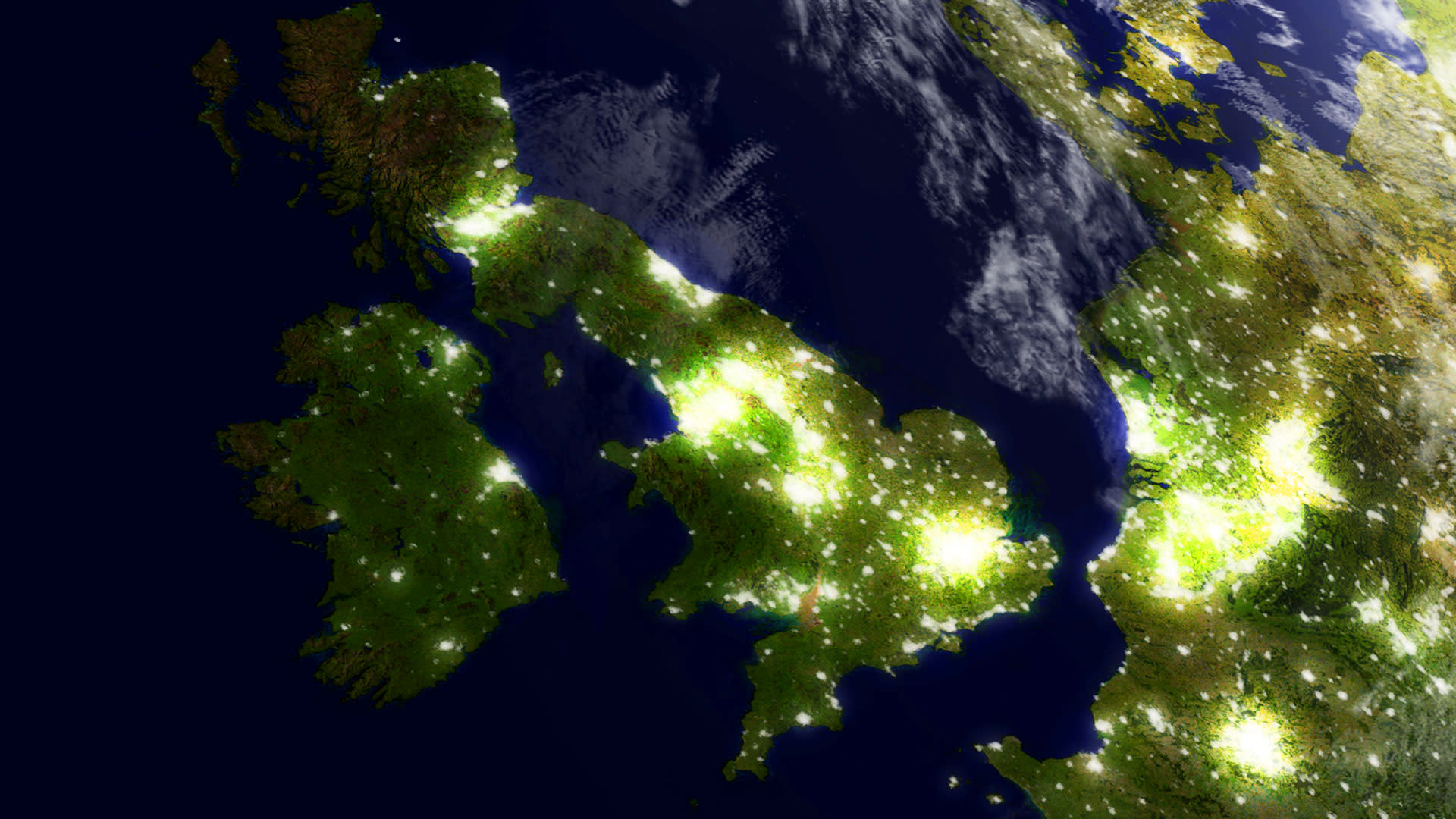 Photo of the United Kindom taken from space at night