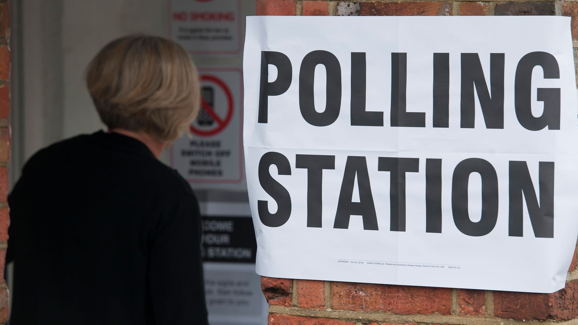 Women entering a polling station in the UK during the European Parliament elections