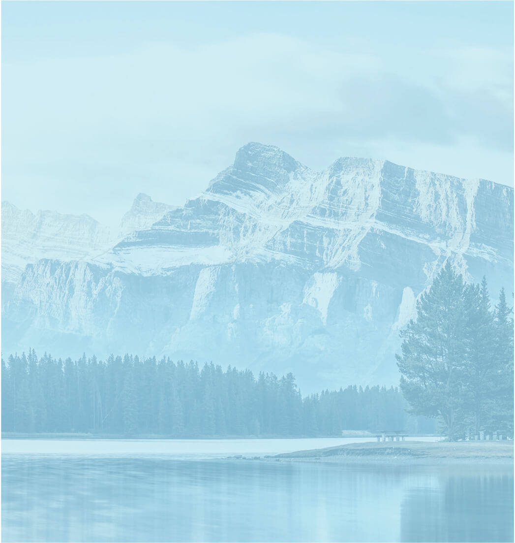 Calming Forest and Lake Landscape with Blue Overlay