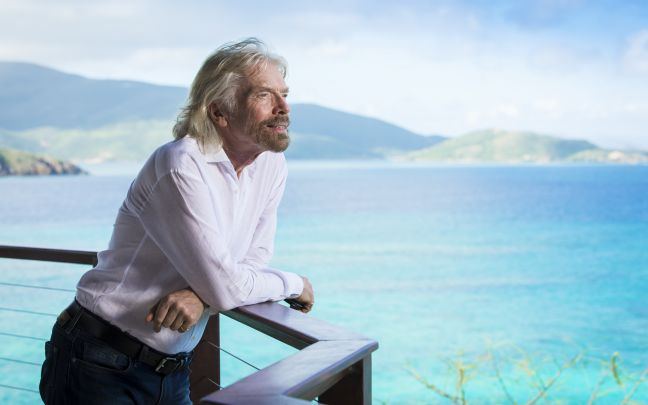 Richard Branson looking out over the ocean