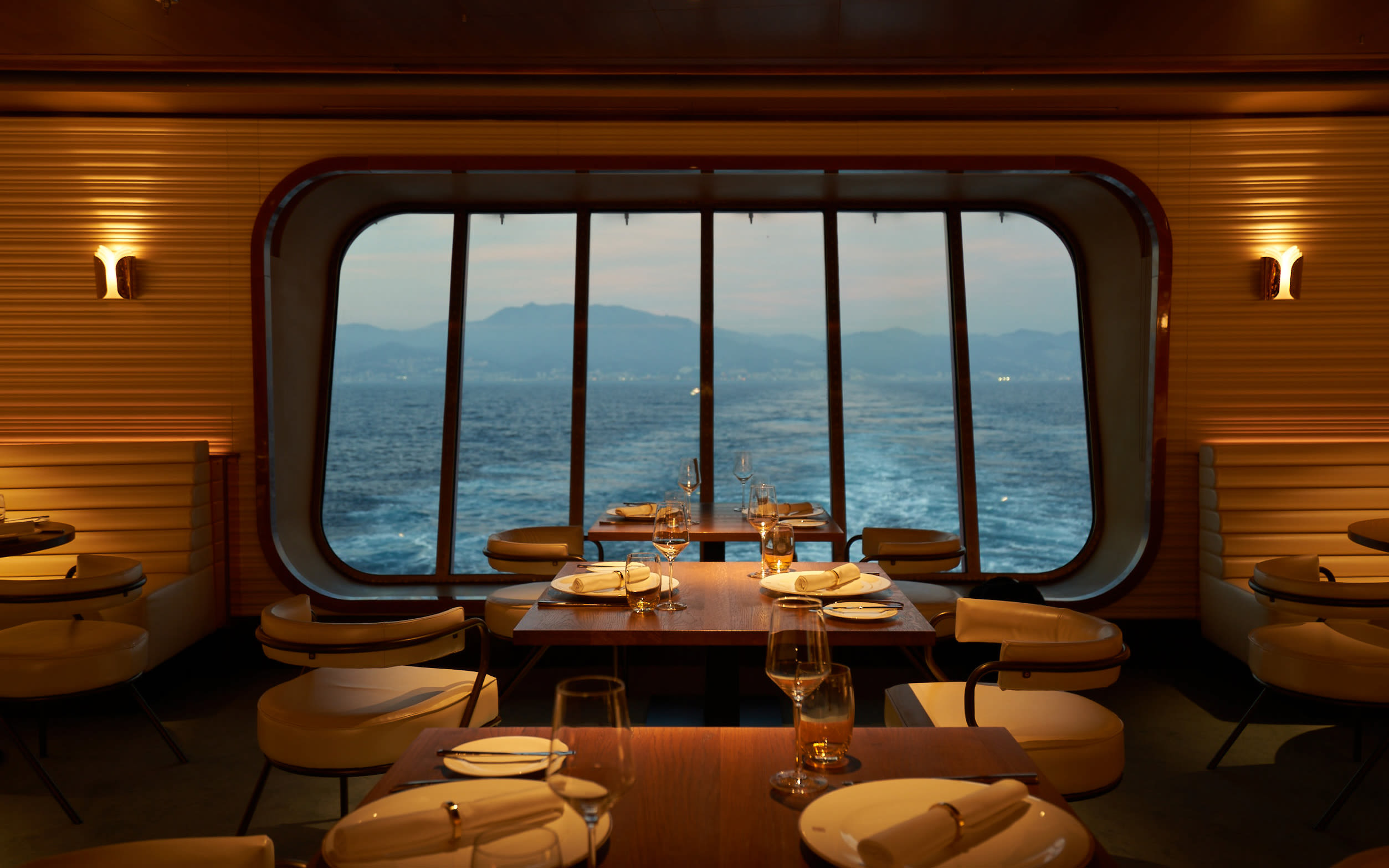 A restaurant on board Virgin Voyages' ship Scarlet Lady