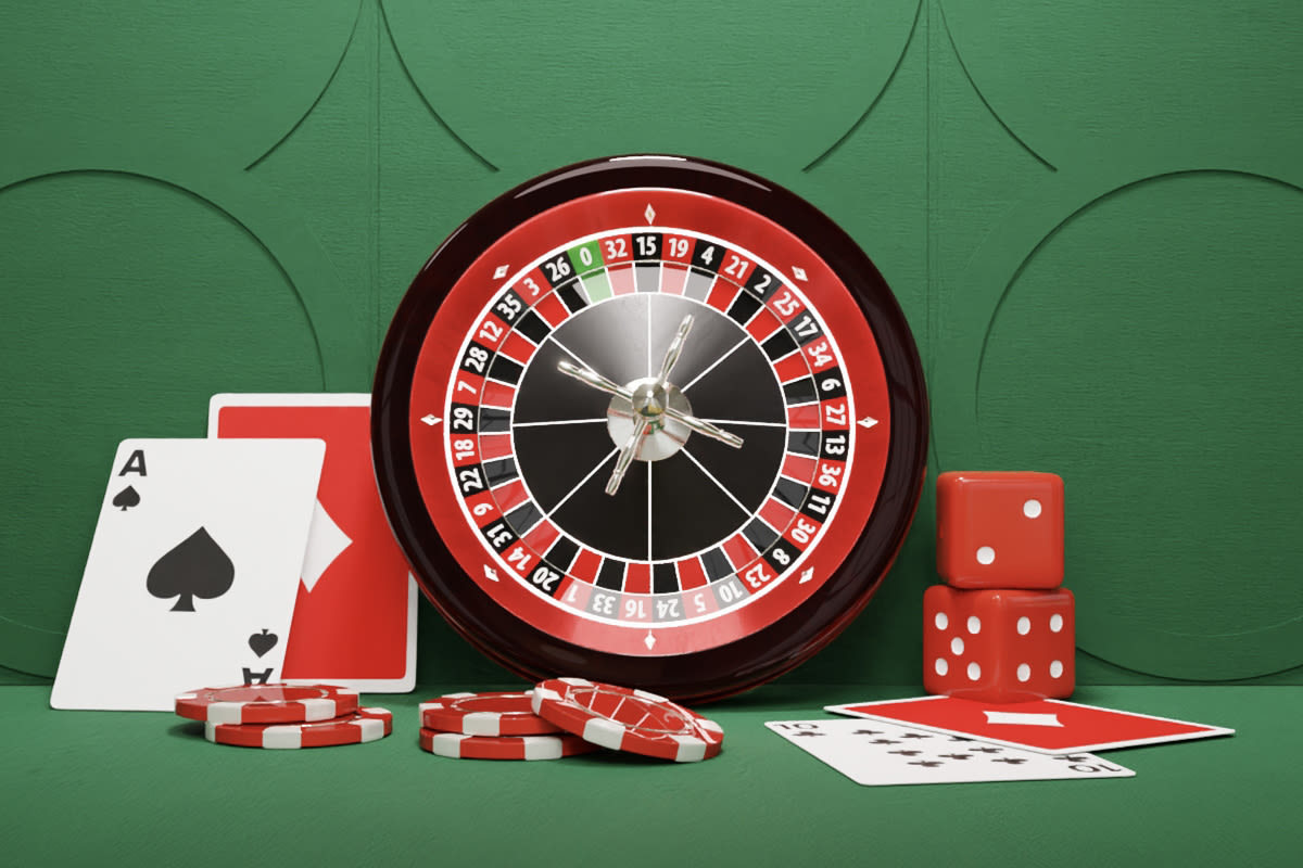 Several casino items including a roulette wheel, playing cards, chips and dice against a green backdrop.