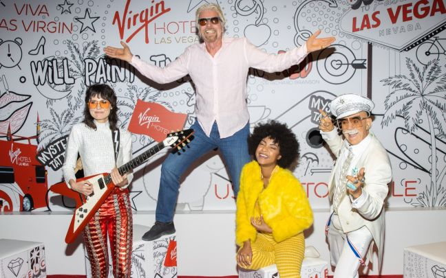Richard Branson celebrating Virgin Hotels Las Vegas