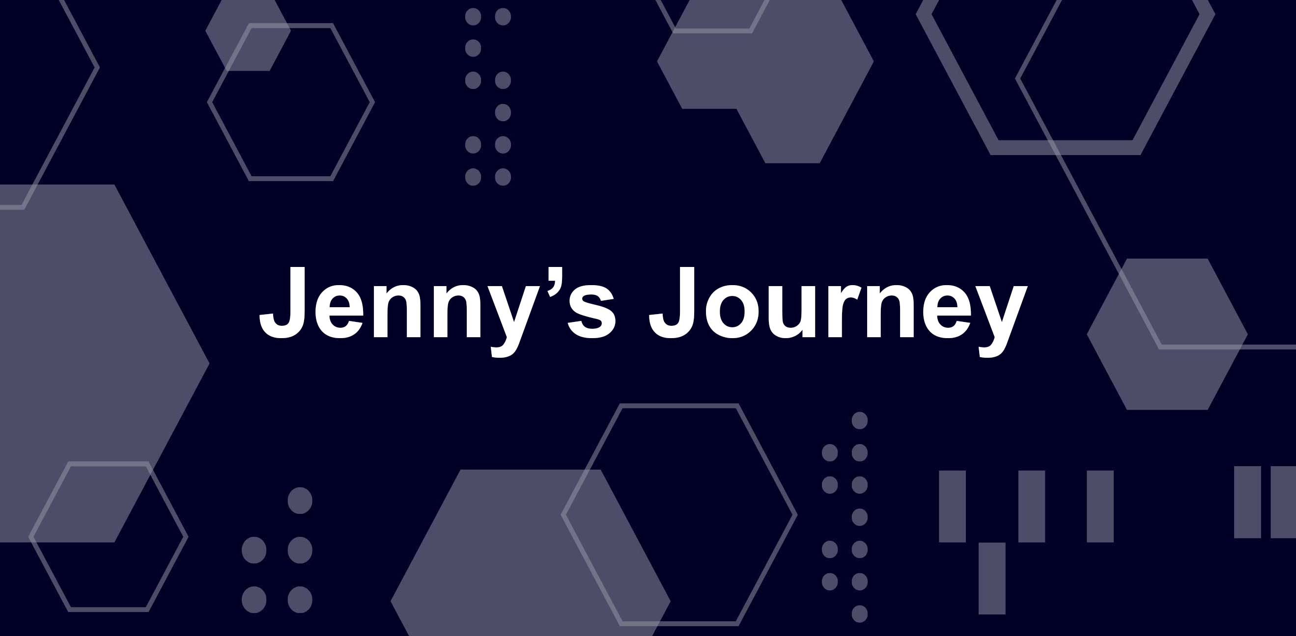 Jenny's Journey in white letters over blue and white geometric pattern