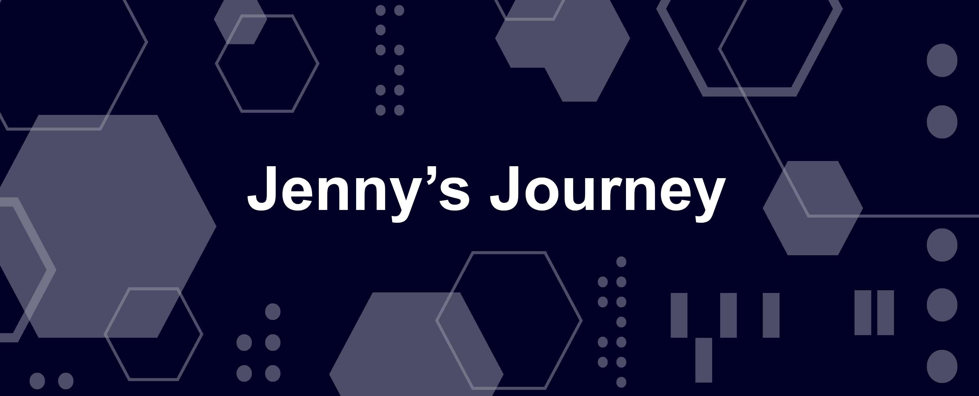 """白色和蓝色的几何背景的白色字母中的""""珍妮的旅程"""""""