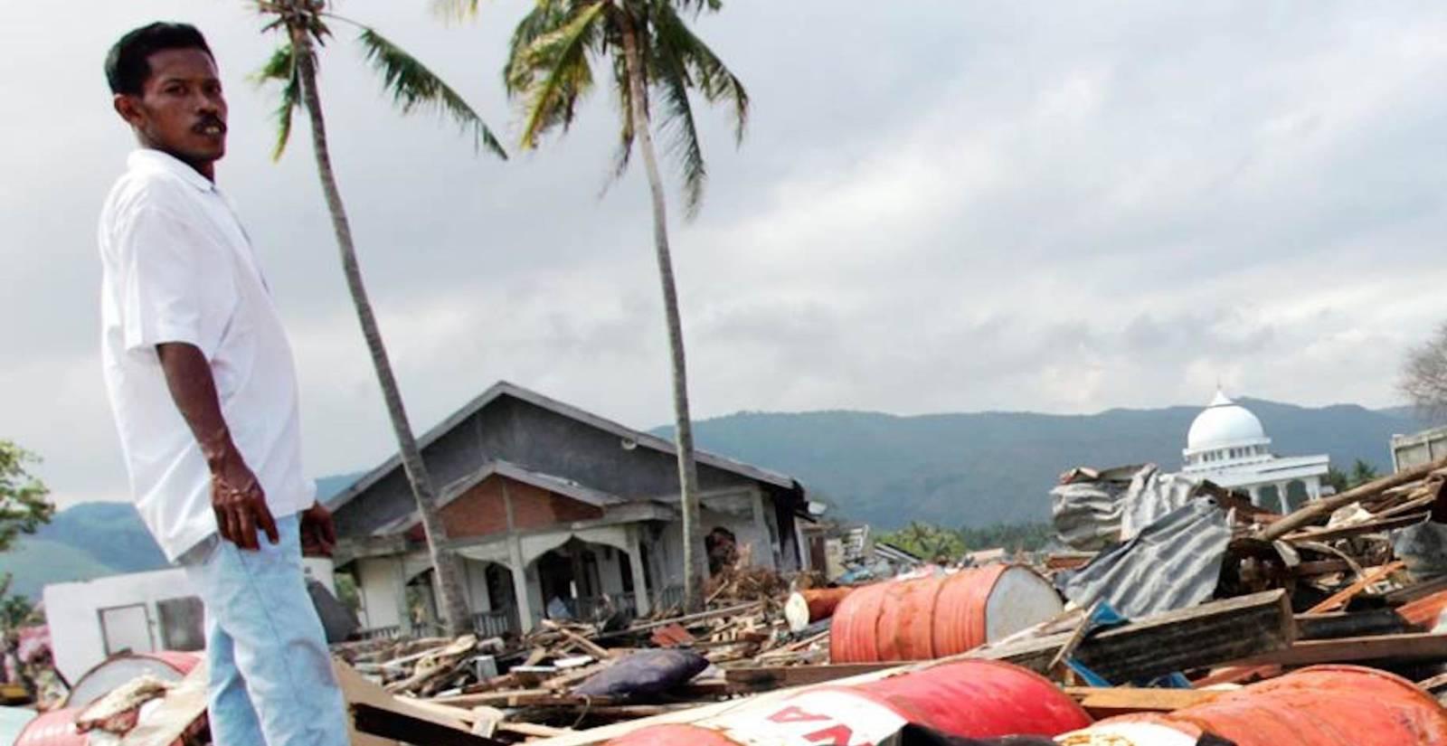 在自然灾害的后果供以人员身分。