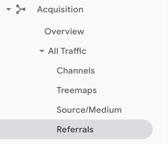 Referral Exclusion - Select Referrer report