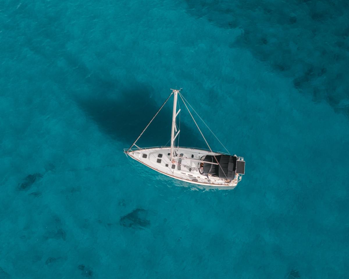 Aerial shot of white boat in the water