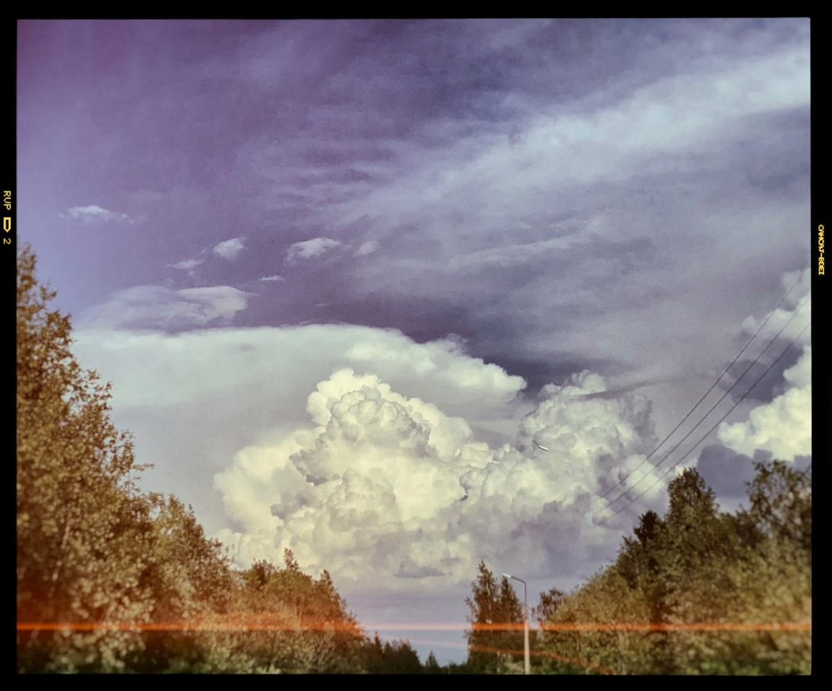 Film Photograph of cloud in the blue sky