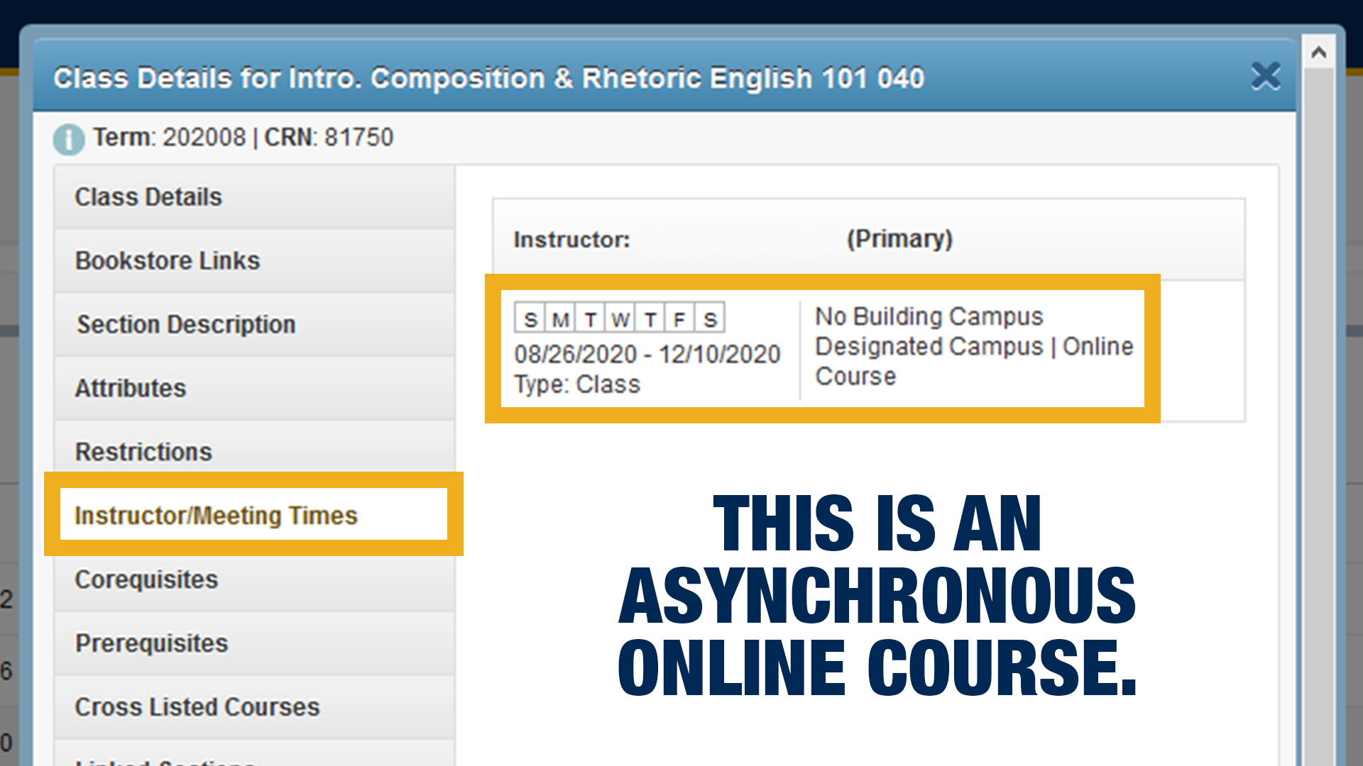 Screenshot of what a asynchronous online course might look like