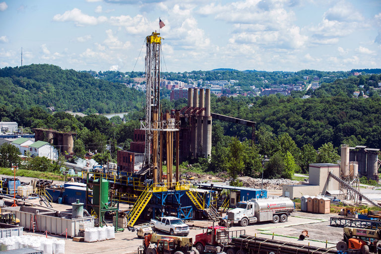 Drilling site at Morgantown industrial park with downtown Morgantown in the background