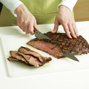 Slice the steak thinly on an angle against the grain for the most tender results.