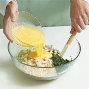 "The eggs will bind with the bread crumbs and act as ""glue"" to hold the turkey cakes together."