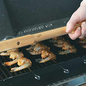 Arrange skewers on the grill with handles over the edge. Cover and grill 2 minutes per side.