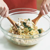 Toss together the linguine, spinach, chèvre,, and chicken. If necessary, thin with a little reserved pasta-cooking water.
