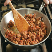 For sausage with crisper edges, only stir it occasionally when browning in the skillet.