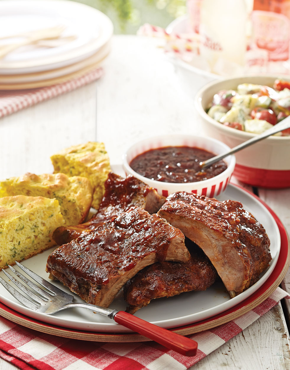 Slow-Cooked Baby Back Ribs with root beer-chipotle barbecue sauce Lead Image