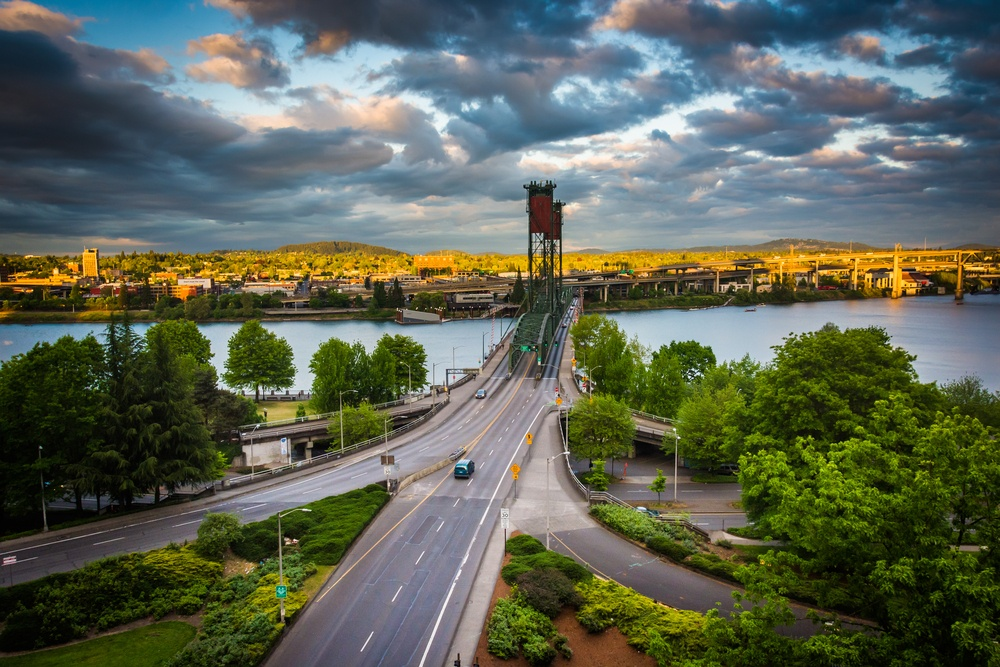 Evening view of the Williamette River and Hawthorne Bridge, in Portland, Oregon.