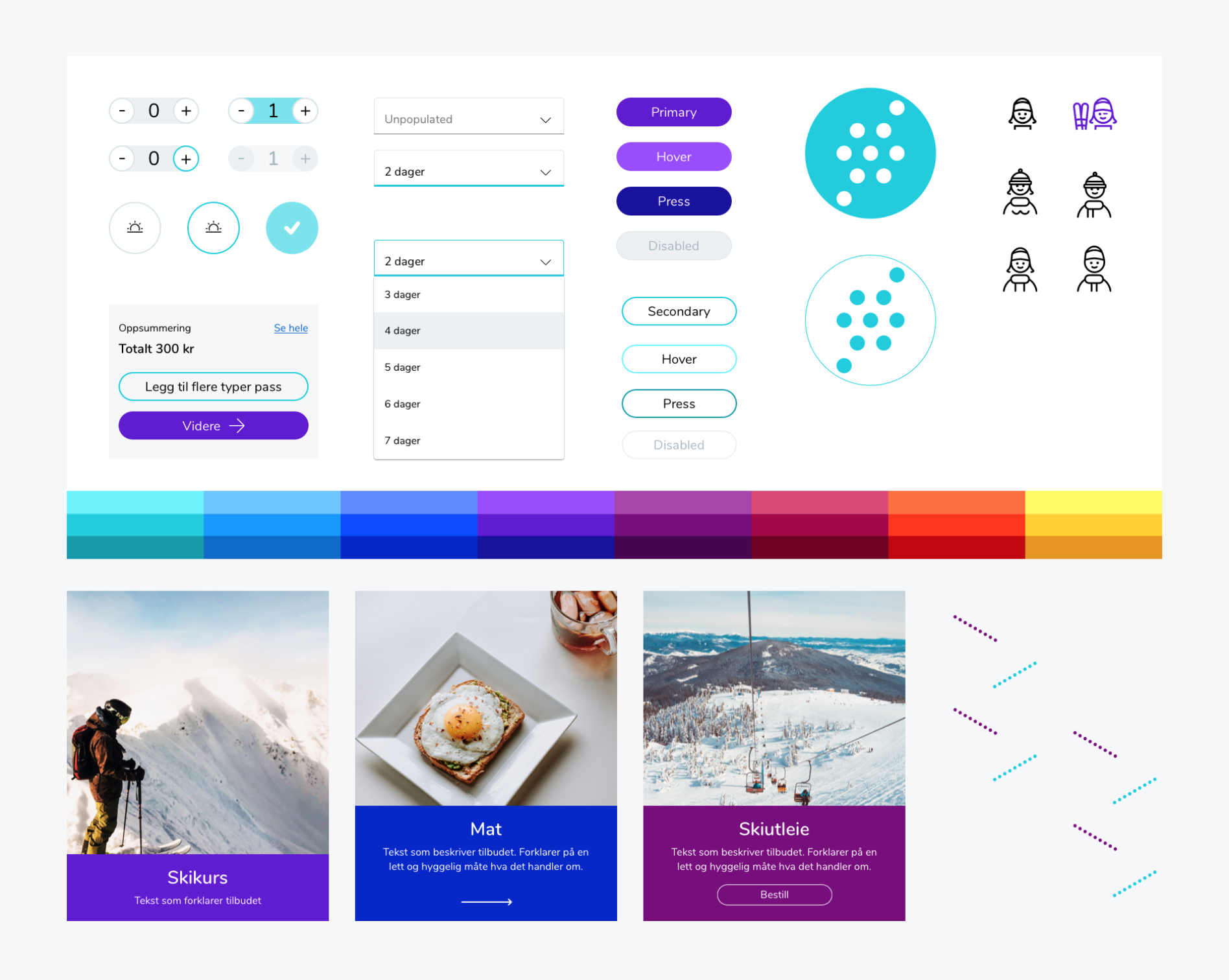 Screenshot of Snø's website showcasing some of the design elements