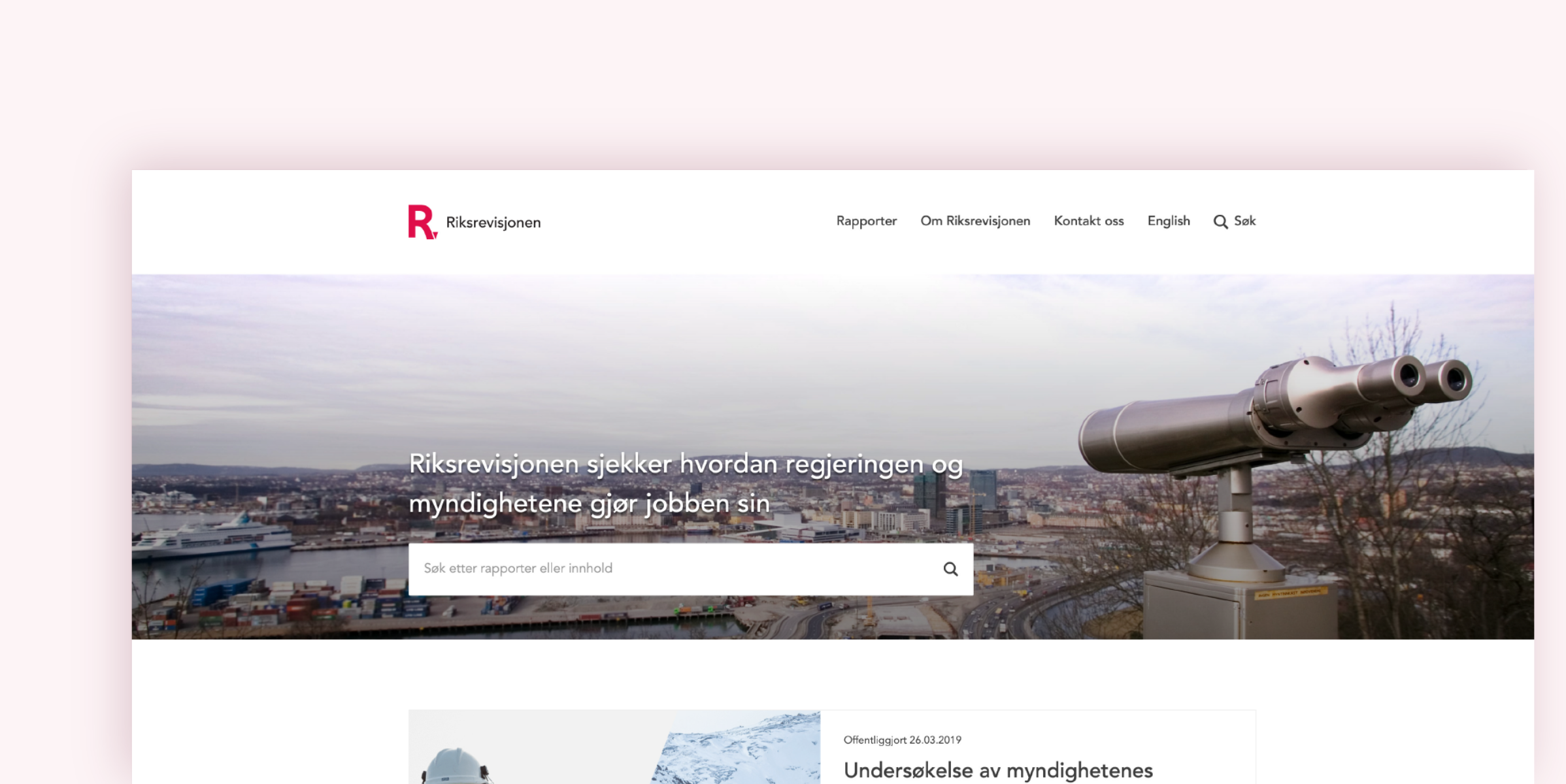 Screenshot of Riksrevisjonens websites homepage