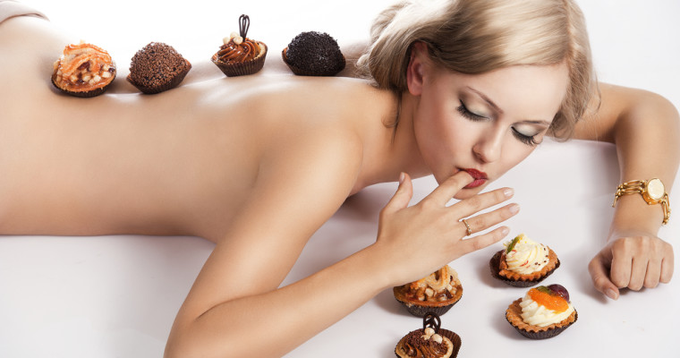 Dinner with dessert on naked woman