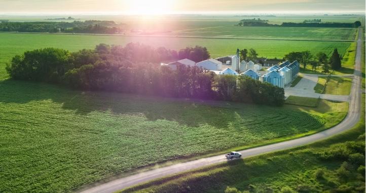 An overhead image of a farm.