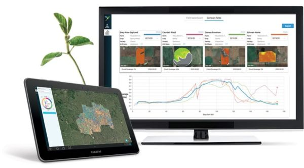 A tablet showing a satellite image of a farm with a graph showcasing different field types and a desktop showing graphs related to crop yields.