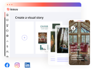 Graphical user interface going from desktop to mobile device, Create visual stories to share on social media.
