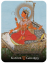 guilt painting of Hindu goddess Lalita, sitting on chaise