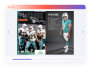 Football playbook magazine on desktop screen