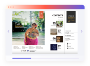 Travel magazine in fullscreen reader desktop view