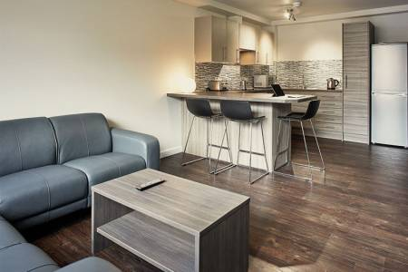 Kitchen and socialising area in Wilmslow Park House student residence