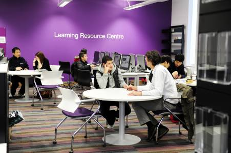 International students in Learning Resource Centre in INTO Centre
