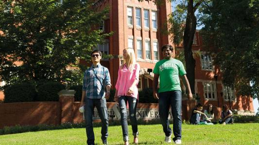 Students walk on campus at Marshall University