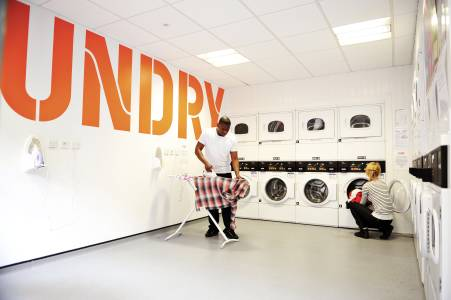 Shared laundry facilities in the Scape building
