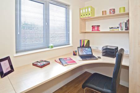 Desk area in a Classic bedroom at INTO Park View student residences