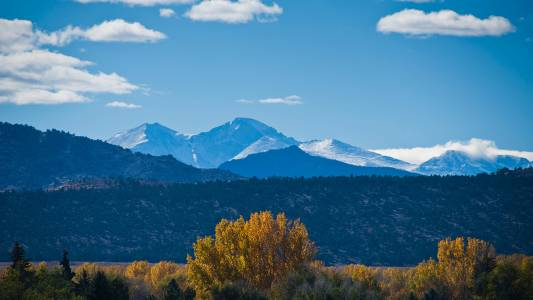 View of the Rocky Mountains from Colorado State University campus
