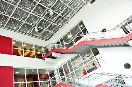 Stairs leading to the entrance of INTO Centre on campus