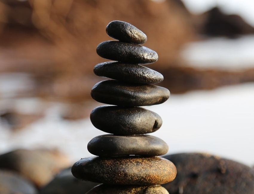 Pile of pebbles balanced on top of each other