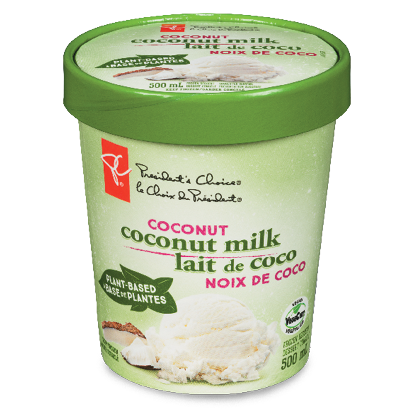 A carton of PC Plant-Based Coconut Milk Frozen Dessert