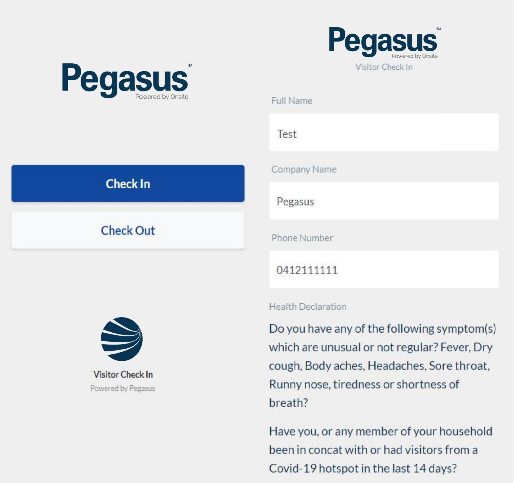 Pegasus COVID check in app 1