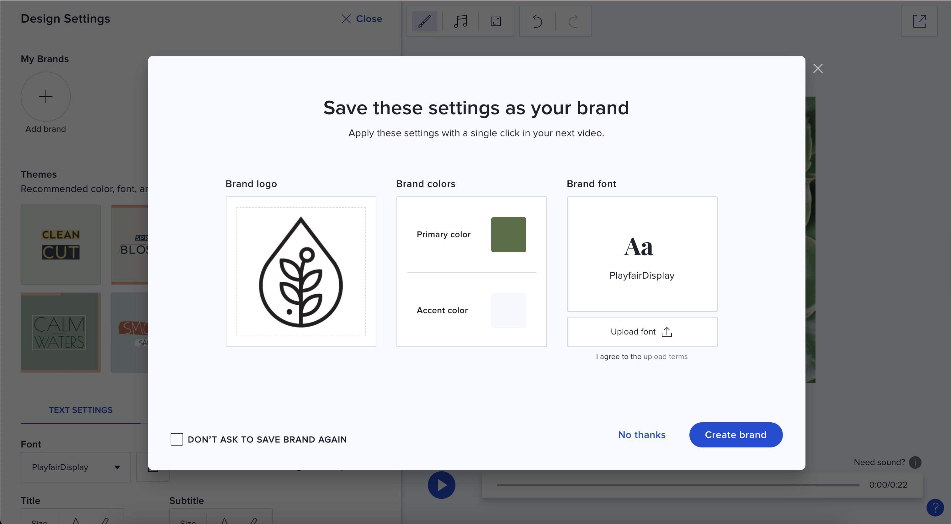 Saved Brand - Create after making a video